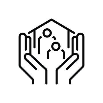 Black line icon for welfare
