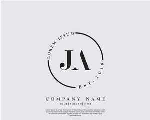 Initial letter JA beauty handwriting logo vector