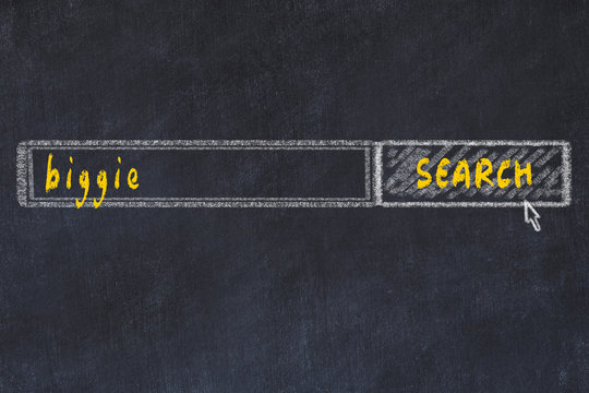 Chalkboard drawing of search browser window and inscription biggie