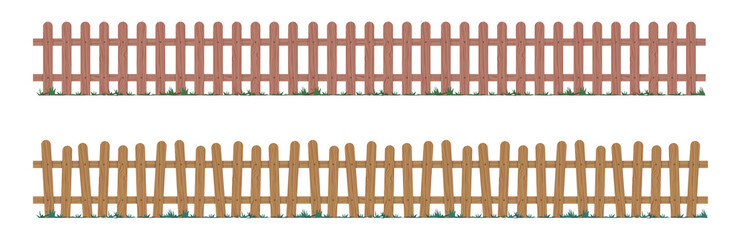 Wooden repeating fence in natural colors. Gate made of wood with different tree elements. Realistic vector illustration.