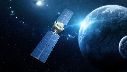 Deurstickers Heelal sapce satellite technology background