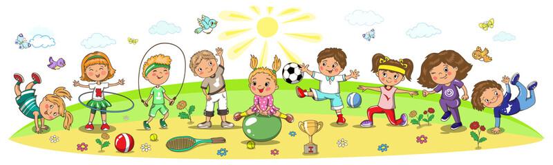 Kindergarten, school children sport activity. Soccer, running, jumping, football, tennis, gymnastic