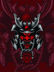 Samurai mask helmet for logo, t-shirt or outerwear