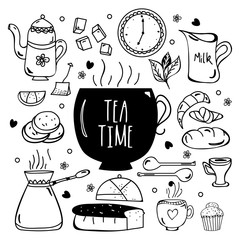 Tea Time hand drawn doodle elements collection.