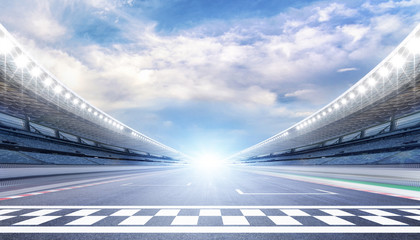 Door stickers F1 empty road track scene background