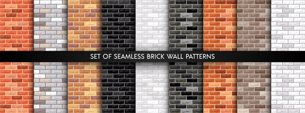 Vector brick wall seamless background set. Realistic different color brick textures collection