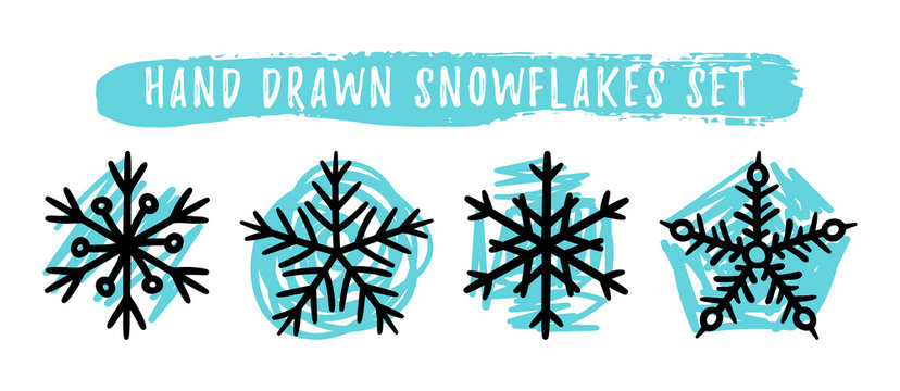 Hand drawn snowflakes set