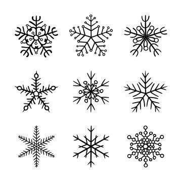Set snowflake hand drawn icons