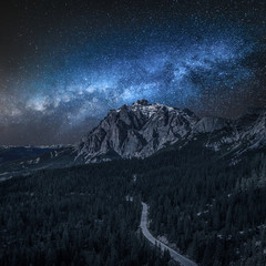 Wall Mural - Milky way over Passo Falazarego at night, Dolomites