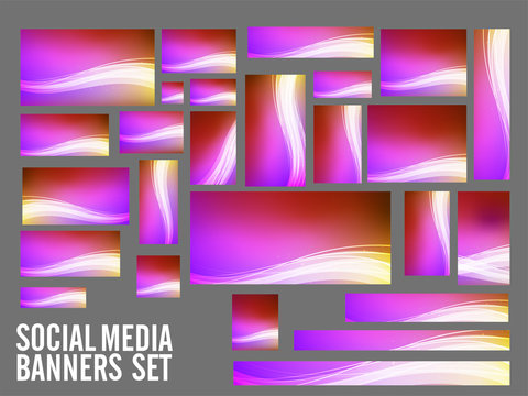 Colorful Social Media Banners with abstract waves.