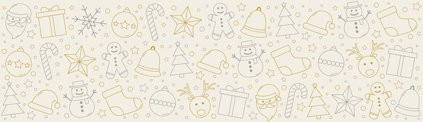 Christmas banner with festive ornaments. Vector Fototapete