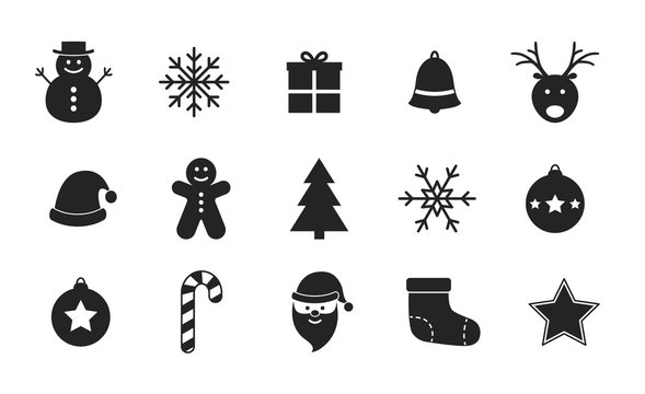 Collection of Christmas icons on white background. Vector