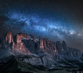 Wall Mural - Milky way over Passo Gardena in Dolomites