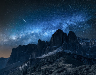Wall Mural - Milky way over passo gardena at night, Dolomites