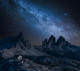 Wall Mural - Milky way over Tre Cime and Dreizinnen hut, Dolomites