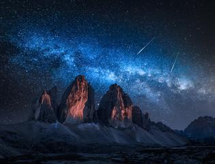 Wall Mural - Milky way over Tre Cime di Lavaredo at night, Dolomites