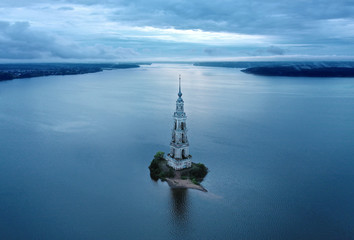 Kalyazin Bell tower on Volga river. Aerial View.