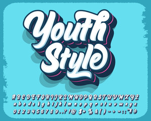 Modern style script font and number