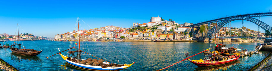 Panorama of the city of Porto and the Dom Luis I bridge on the Douro River in Portugal