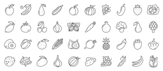 Photo sur Aluminium Cuisine Fruit berry vegetable food line icon vector set