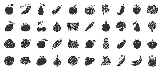 Autocollant pour porte Cuisine Fruit berry vegetable food glyph icon vector set