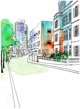 OLd nice street of White city Tel Aviv, hand drawn sketch. Vector illustration on background watercolor