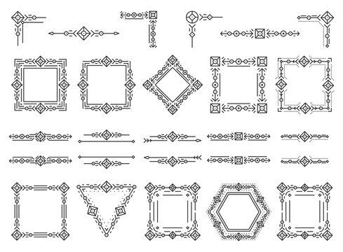 Text frame monogram devider corner art vector set