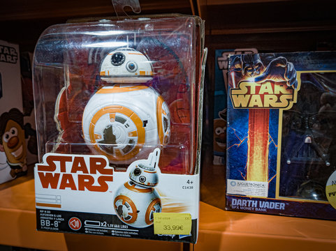 Barcelona, Spain. October 2019: Star Wars BB-8 figure toy on shelve in shopping mall.