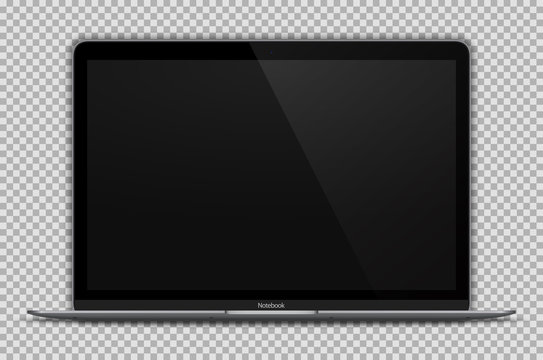 Realistic Open Laptop with Blank Screen Isolated on Transparent Background. Grey Notebook 12 inch. Can Use for Project, Presentation. Device Mock Up. Separate Groups and Layers. Easily Editable Vector