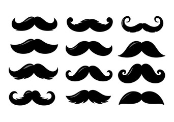 Black sillhouettes of moustache vector collection isolated on white background