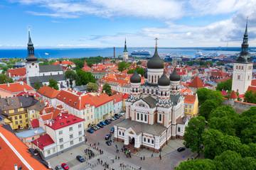 Aerial of central Tallinn, Estonia, taken in May 2019