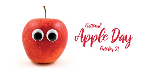 National Apple Day images. Red apple with eyes stock images. Funny apple character. Apple isolated on white background. Apple Day Poster, October 21. Important day