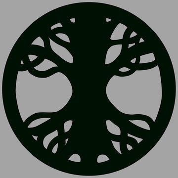 Yggdrasil Ash, Scandinavian symbol of Norse Mythology from Edda. Symbol of belief of vikings. Old Norse symbol of mythical holy ash tree. Isolated vector illustration. Green tree logo in a circle.