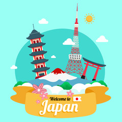 Vector travel poster of Japan.