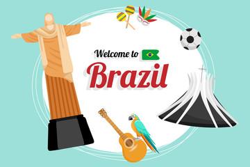 Vector travel poster of Brazil.