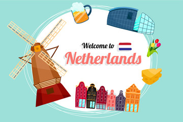 Vector travel poster of Netherlands.