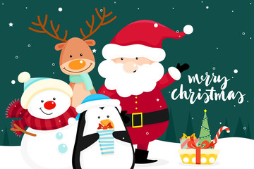 Christmas Greeting Card with Christmas Santa Claus ,Snowman and reindeer. Vector illustration