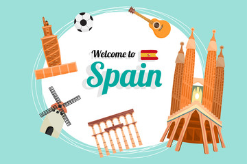 Vector travel poster of Spain.