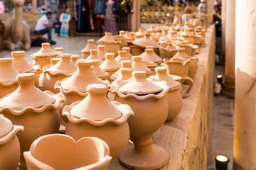 Collection of Handmade clay pots made from mud Arabic Style and design