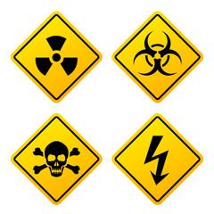 Yellow danger signs set