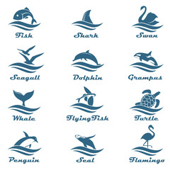 icon collection of aquatic animals with sea waves isolated on white background