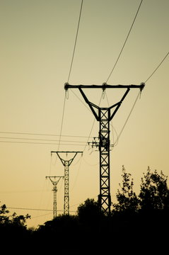 Silhouette of medium voltage towers for electrical supply