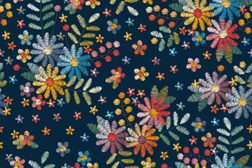 Photo sur Toile Style Boho Embroidery seamless pattern with floral motifs. Colorful flowers, leaves and berries on dark blue background.