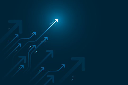Light arrow circuit on blue background illustration, copy space composition, business growth concept.