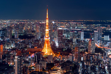 TOKYO - DEC 30: Amazing panoramic view to city centre of Tokyo in the evening, Tokyo Tower at night on December 30. 2016 in Japan