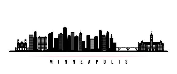 Minneapolis skyline horizontal banner. Black and white silhouette of Minneapolis, Minnesota. Vector template for your design.