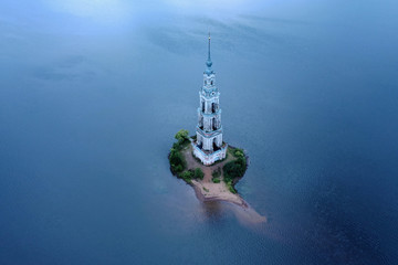 Kalyazin Bell tower on Volga river. Russia. Aerial View.