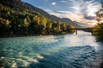 View over The Inn River In Hall in Tirol in Direction Innsbruck at sunset