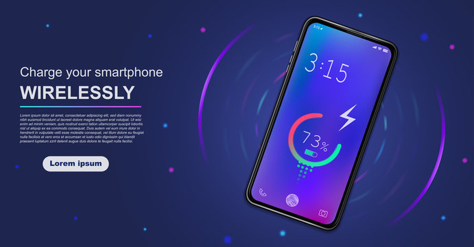 Futuristic phone is charged wirelessly on a blue background. Wireless charging of a device battery. Future concept. Vector illustration