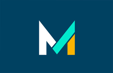 blue white yellow green M letter logo alphabet for company icon design